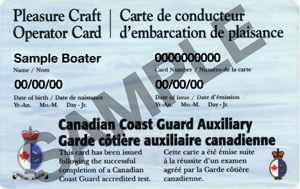 Pleasure craft boating card